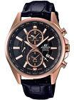 Casio Edifice Chronograph Alarm Leather Strap Men's Watch EFB-302JGL-1A