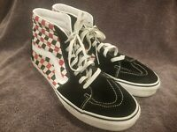 Vans SK8 Hi Black White Red Checkerboard Skate Shoes