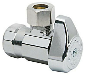 Brass Craft 1/4 Turn Angle Valve  1/2 Inch X 1/2 Inch Chrome  for Wall Pipe
