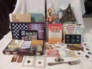 Estate Junk Drawer Lot, Coins, Goebel, Menorah , Sterling, Knife, Jewelry, etc
