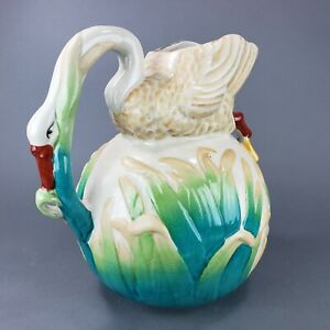 Majolica Pottery Large Swan Goose Pitcher