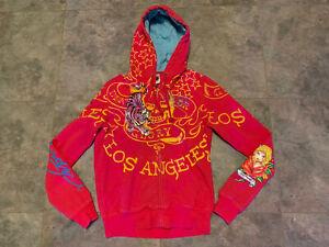 "Ed Hardy By Christian Audigier Pink ""Death or Glory"" w/ Tiger Design Large Vtg."