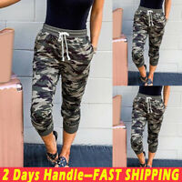 Women Elastic Waist Camouflage Cropped Pocket Trousers Ladies Casual Capri Pants