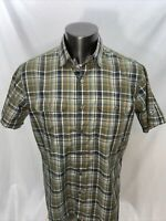 Kuhl Eluxur Mens Large Plaid Green Short Sleeve Button Up Shirt Outdoors Hiking