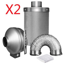 iPower 6'' Inch Inline Exhaust Blower Air Ducting Carbon Filter Fan Combo 2-Pack