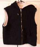 Women's Coaco New York Ladies Hooded Black Fleece Vest Size M