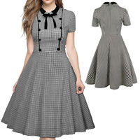 Ladies Plaid Ball Gown Casual Bodycon Business Work Evening Coktail Prom Dresses
