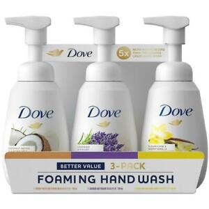 Dove Foaming Hand Wash Soap Moisturizing Scent 3 pk Coconut Lavender Sugar Cane