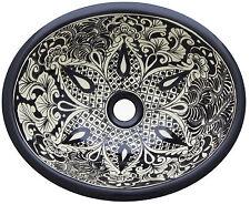 """Bathroom Ceramic Oval Sink Mexican 17x14""""  # 184 BLACK"""