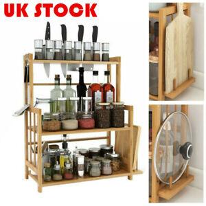 3Tier Kitchen Spice Rack Standing Countertop Storage Organizer with Knife Holder