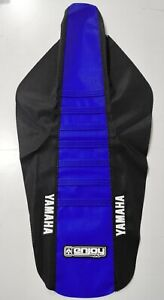 LOGO Hutten MX Ribbed Seat Cover Black Blue Blue Ribs Yamaha YZ 125 250 02 > 21