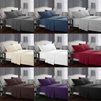 4 Pieces Sheet Bed Set 1800 Count Plain Solid Comfort Deep Pocket Sheets Bedding