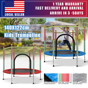 """55"""" Kids Round Mini Trampoline Exercise Jumping Safety Pad Enclosure Indoor Net"""