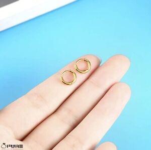 8mm Women Men Small 18K Gold Plated Kids Surgical Steel Huggie Hoop Earrings
