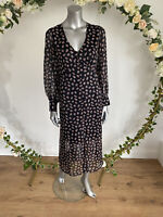 New Look Tea Dress Size 8 Black Pink Floral Midi Button Up Chiffon HM62