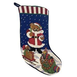 Wool Needlepoint & Velvet Patriotic Teddy Bear Hanging Christmas Stocking