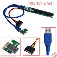 PCI-E Ausdrücken 1X To 16X Extender Riser Adapter Karte Mit Molex 60CM USB Kabel