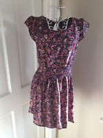 ASOS Ladies Pink And Black Floral Cap Sleeve Skater Style Short Dress , Size 8