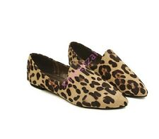 Womens Ladies Loafers Leopard Ballet Pointed Toe Flats Casual Slip On Shoes HOT