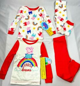 Peppa Pig Girls 4 Pc Long Sleeve Pajama 2 pack Coral 2T   New w/Tags