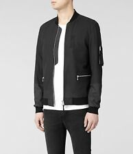 BRAND NEW, Retails $830,- Men's black leather bomber Jacket Allsaints