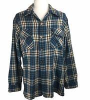 Vintage 70s JC Penney Wool Blend Button Down Shirt Plaid Blue Brown Mens Medium