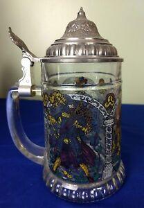 Vintage German Glass Beer Stein Mug (7 inch Tall)