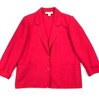 Weinberg Paris Women's Wool Unstructured Blazer Jacket Bright Red • Size 16