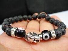 Natural Lava Evil Eye Stone Bead Good Luck Lucky Silver Buddha Mala Bracelet