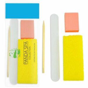 PandaSpa 4 Piece Pedicure Kit, Wood Nail File, Pumice Pad, Mini Buffer 100/180 G