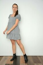 New Womens Black Gingham Check Puff Sleeve Ruffle Hem Mini Smock Dress Size 8-16