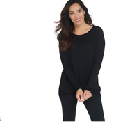 AnyBody Loungewear Hacci Front Twist Top Color Black Size X-Small
