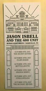 Jason Isbell 400 Unit Ryman Run 2017 Setlist Card