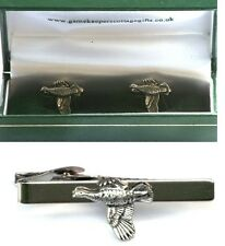 Grouse Cufflinks & Tie Clip Bar Slide Mens Gift Set Game Bird Shooting Present