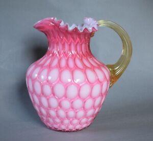 "1880s Phoenix Cased Pink Honeycomb Victorian Art Glass 8"" Pitcher - PERFECT"