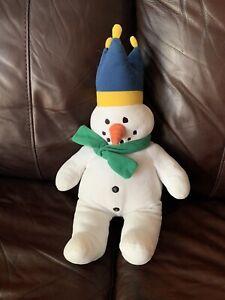 "RARE Talbots Kids Eden White Snowman Green Scarf Blue Crown Stuffed Plush 17"""