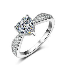 18k White Gold Filled Heart Shape Wedding Bridal Engagement Ring Size 8 R170