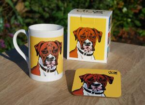 Boxer dog - porcelain mug gift set with coaster and gift box.