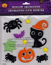 Halloween Gel Window Cling Stickers 17 Count ~ Pumpkin, Cat, Bat & Spiders