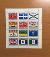 Stamps Canada Sc832a 17c Provincial Flags pane of 12 MNH stamps of 1979