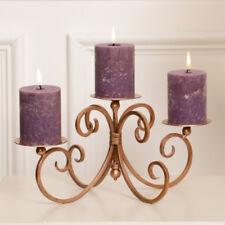Ornate Iron 3 Pillar Candle Holder Christmas Table Centrepiece Candelabra
