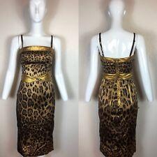 Rare Vtg Dolce & Gabbana Leopard Silk & Leather Dress XS