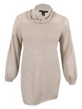 Sweater Style&Co NWT 0X Plus Lace Shoulders Beige Cowl-Neck Long Tunic MC320