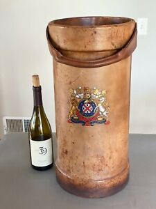 Antique English Leather Fire Bucket Umbrella Stand With Coat of Arms