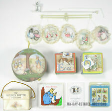 VINTAGE LOT OF 24 BEATRIX POTTER TOYS BOOKS BABY CRIB CAROUSEL STAMPS POSTCARDS