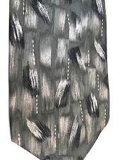 "Pierre Cardin Men's Silk Tie 57"" X 4"" Olive/White/Black Brushstroke Abstract"
