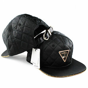 Hater Quilted Gold Chain Snapback Hat cap 5 6 panel NEW