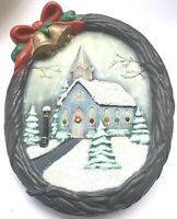 Vintage Christmas Musical Light Up Decoration Church Wreath Ceramic Handmade