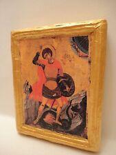 Saint George Christian Catholic & Greek Orthodox Icon Art on Aged Wood Plaque