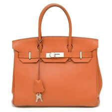 Authentic Hermes Birkin 30 Chevre Leather Satchel Hand Bag Tote Orange France